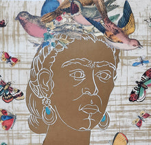 Load image into Gallery viewer, detail of Frida y la Naturaleza, original artwork hand printed in gold ink, with songbirds and butterflies, for sale by Ouida Touchon