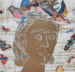 detail of Frida y la Naturaleza, original artwork hand printed in gold ink, with songbirds and butterflies, for sale by Ouida Touchon