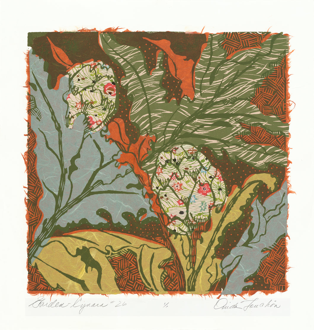Garden Granada # 26, a wild composition of artichokes in woodcut print with collage for sale by Ouida Touchon