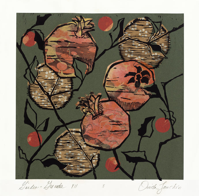 Garden Granada 7, original pomegranate woodcut print with chine colle for sale by Ouida Touchon