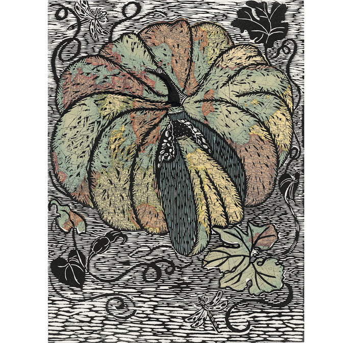Vintage maps of the world are used in collage for this handprinted pumpkin titled Global Pumpkin by Ouida Touchon, original art for sale