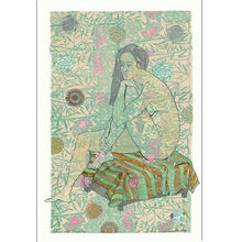 Load image into Gallery viewer, handprinted paper with applied collage and gouache, In her Persian Garden for sale by Ouida Touchon