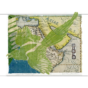 Infinite Pathways, a fantasy collage with a green magpie, and hand printed paper fragments including a vintage map, for sale by Ouida Touchon