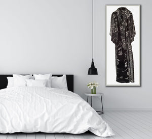 A view of 'Kimono' in a lovely and serene bedroom. Kimono, woodcut print for sale by Ouida Touchon, limited edition,  womenswear.