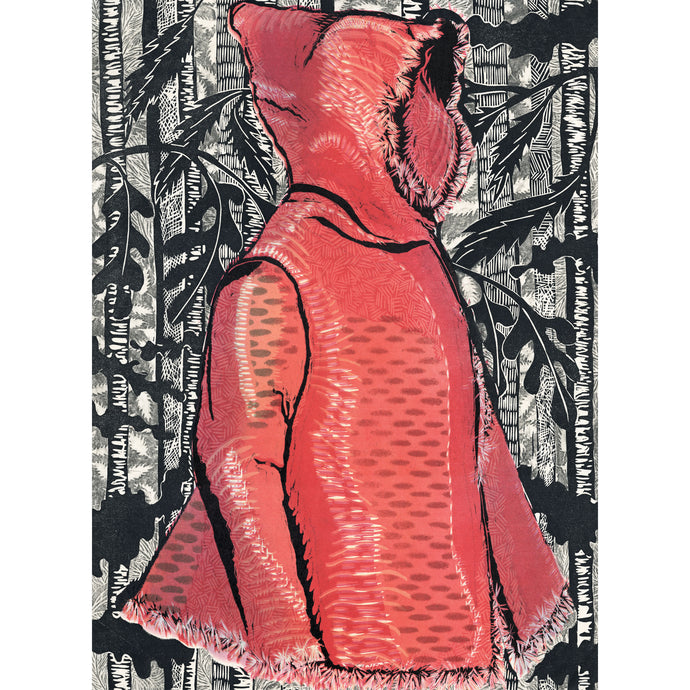 Lil Red in the Black Forest, fantasy garment in shades of red surrounded by black forest textures. Woodcut print Lil Red in the Black Forest original artwork for sale by Ouida Touchon