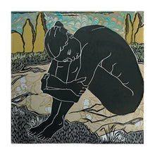 Load image into Gallery viewer, Longing, from the Languor Series, linocut with chine colle for sale by Ouida Touchon