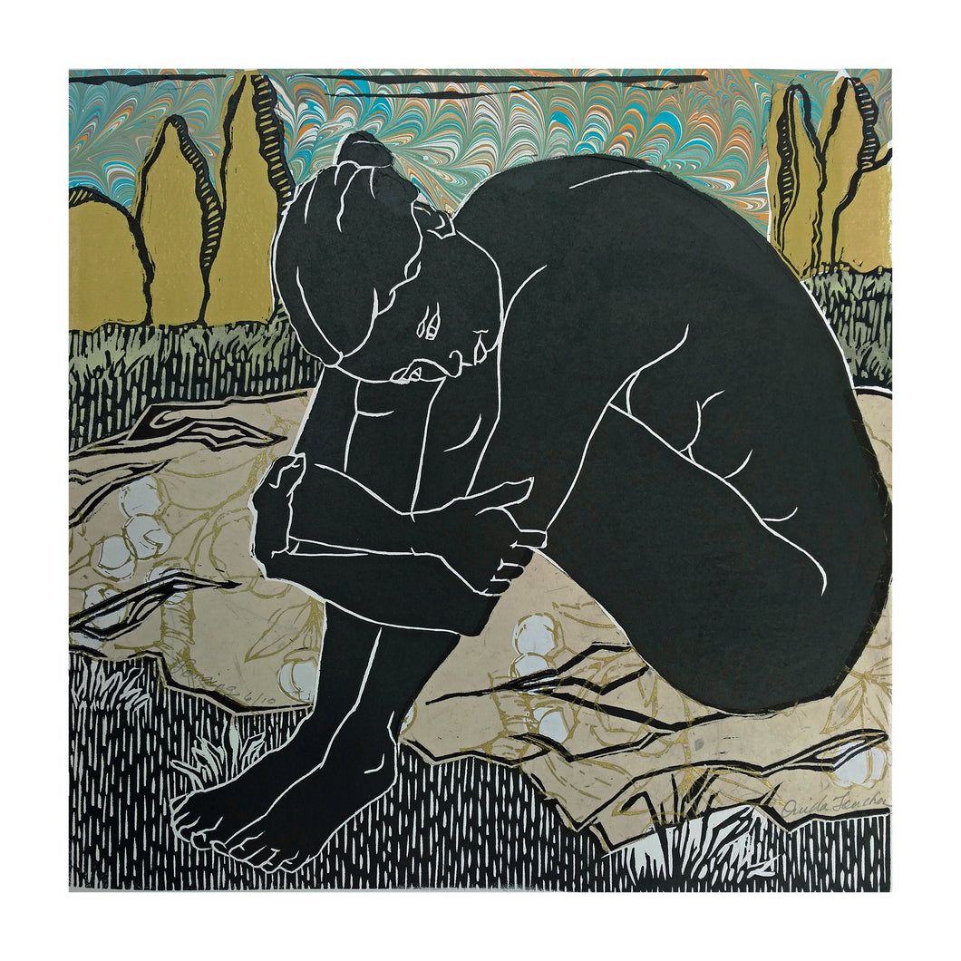 Longing, from the Languor Series, linocut with chine colle for sale by Ouida Touchon