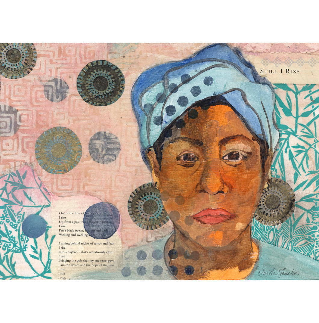 Maya 2, portrait of Maya Angelo, mixed media with poem and blue coloring, for sale by Ouida Touchon