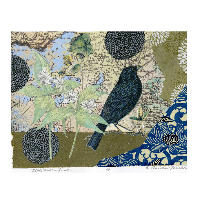 Never Never Land, A blackbird and foliage collage of paper fragments as well as a vintage map, for sale by Ouida Touchon