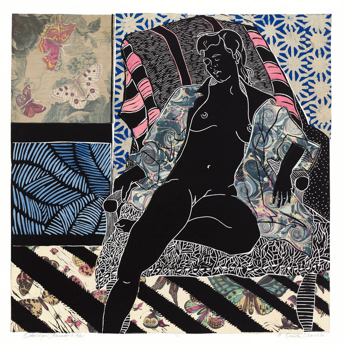 Odalisque, Harmony in Blue, linocut with chine colle, 24x24, by Ouida Touchon