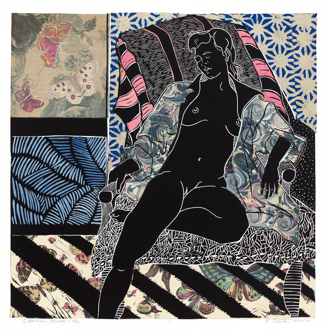 Odalisque, Harmony in Blue, linocut with chine colle, 24x24, for sale by Ouida Touchon
