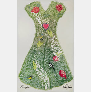 large woodcut print of a fantasy garment worn by the Goddess of Spring, Persephone, for sale by Ouida Touchon