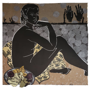 Persephone in the Night Garden, linocut print with hand coloring for sale by Ouida Touchon