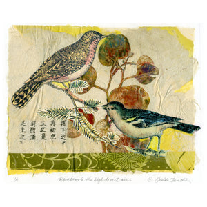 Rainbows in the High Desert Air, fantasy collage with vintage songbird collage by Ouida Touchon, for sale as original.