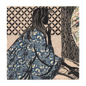 Reflection, a lino cut handprint with chine colle collage, a woman washing her face, wearing a blue patterned kimono; limited edition, signed and numbered