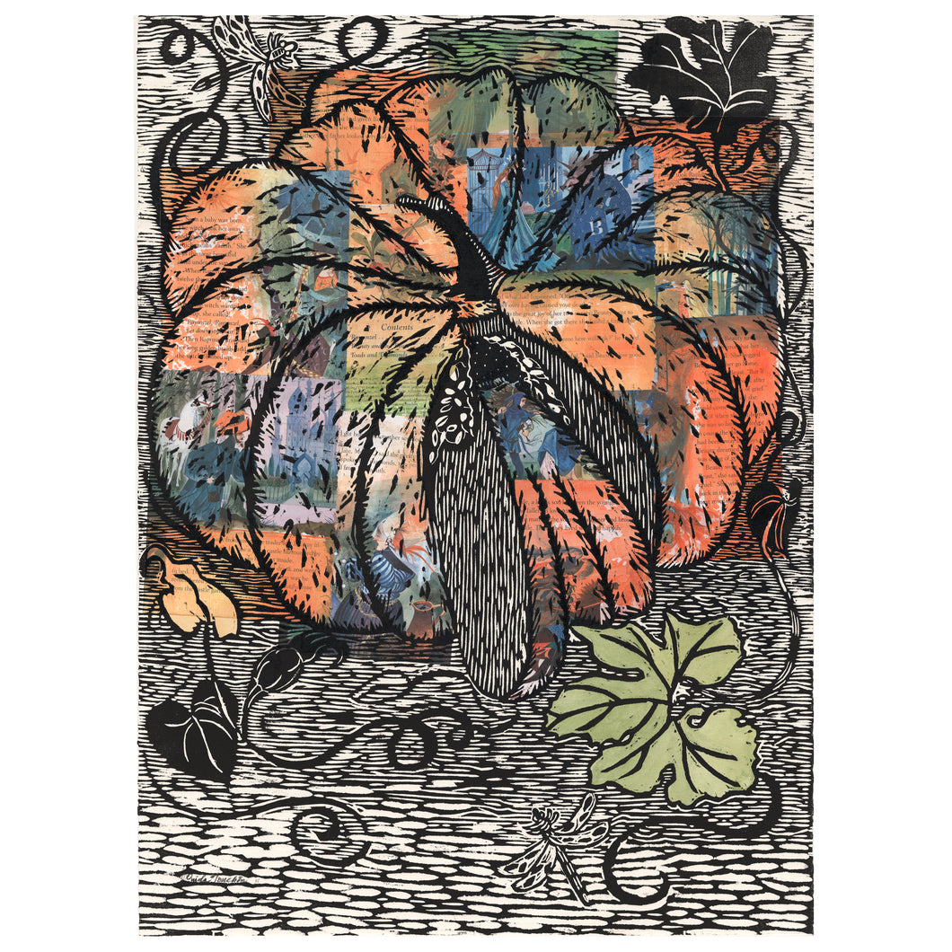 Storybook Pumpkin, woodcut print with collage of storybook pages from Cinderella book , for sale by Ouida Touchon, artist