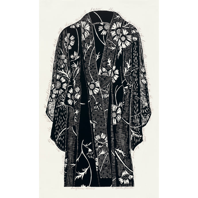 Sunflower Kimono, hand printed in black ink on Japanese paper, for sale by Ouida Touchon