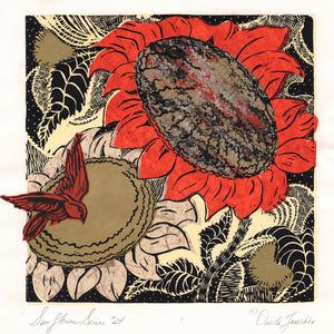 A large red sunflower and a smaller beige one with a red songbird and graphic inked design. Original art by Ouida Touchon, for sale.