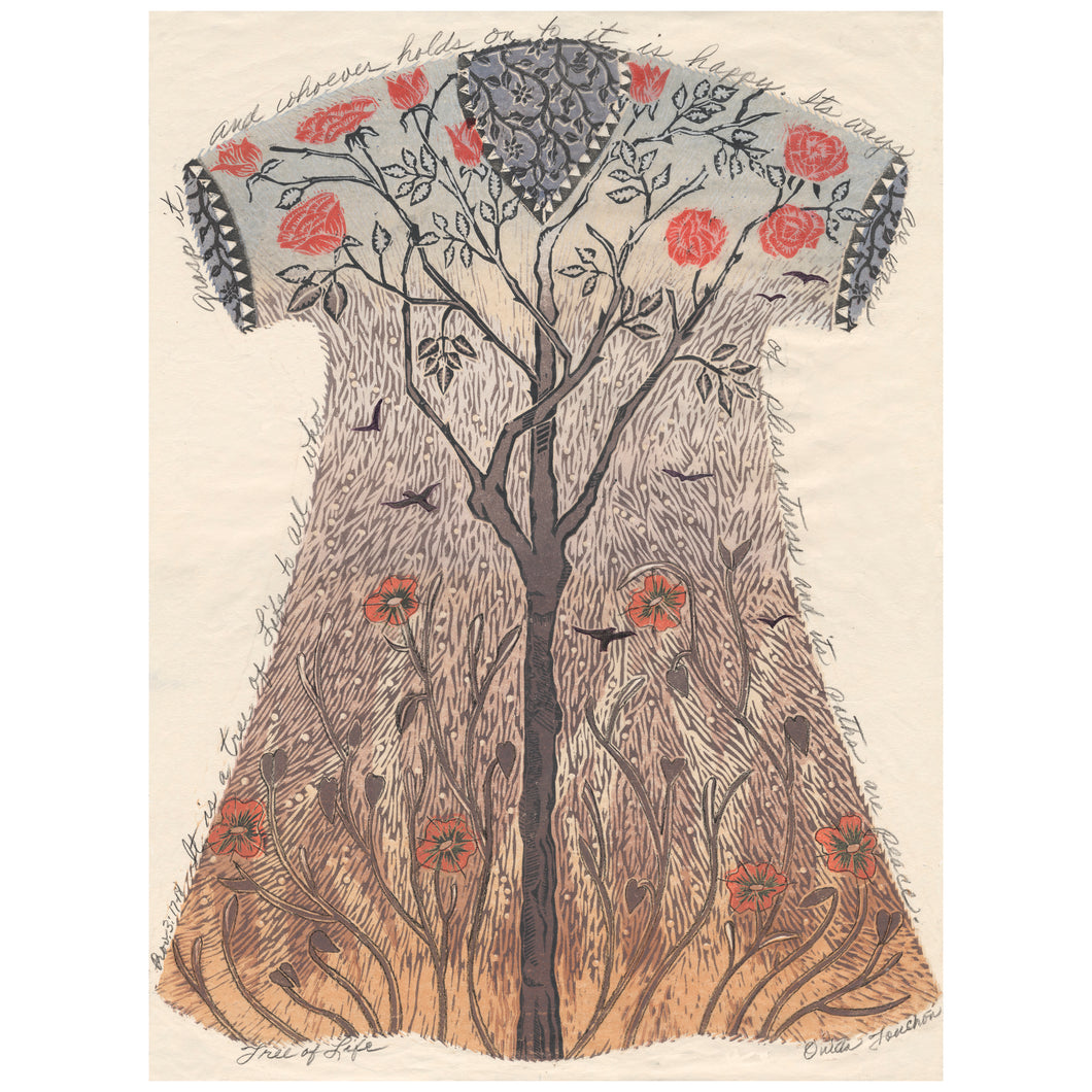 Tree of Life, original art with text, fantasy garment titled Tree of Life, handprinted.for sale by Ouida Touchon