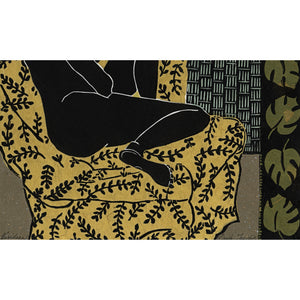Viridian linocut from the detail of Languor Series, for sale by Ouida Touchon