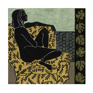 Viridian linocut from the Languor Series, for sale by Ouida Touchon