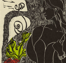 Load image into Gallery viewer, Wistful, linocut with chine colle for sale by Ouida Touchon, square size 12x12