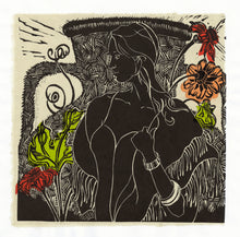 Load image into Gallery viewer, Wistful, linocut with chine colle for sale by Ouida Touchon, square size 12x12 image size.
