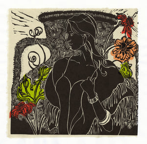 Wistful, linocut with chine colle for sale by Ouida Touchon, square size 12x12 image size.