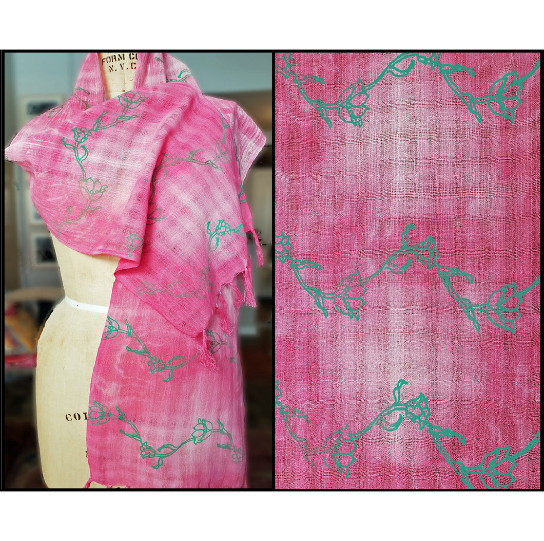 rose colored shibori dyed cotton scarf with printed green garland repeat, for sale by Ouida Touchon