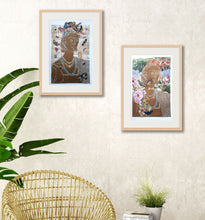Load image into Gallery viewer, in situ view of both Fridas in frames, for sale by Ouida Touchon
