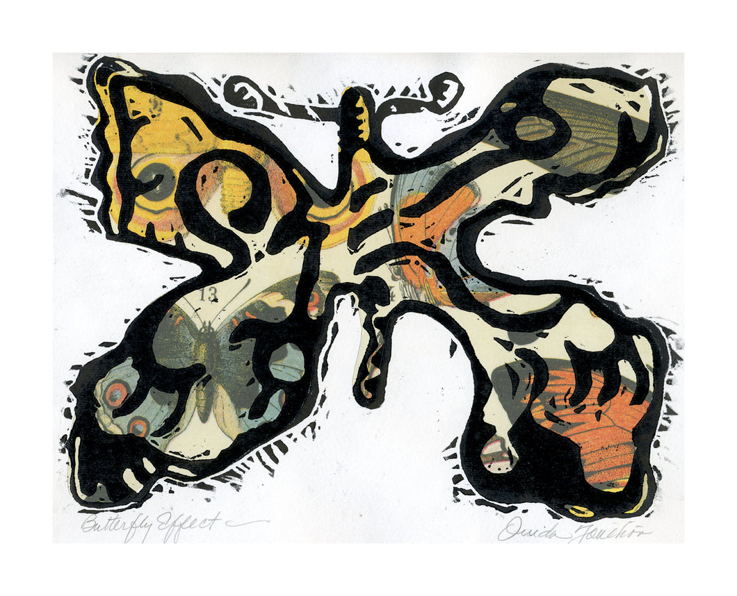 Birds and Butterflies 2, warm colors of collage and overprint of butterfly with black ink. Original artwork for sale.