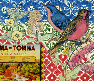 detail of California Dreaming 5, vintage collage on paper with songbirds for sale by Ouida Touchon