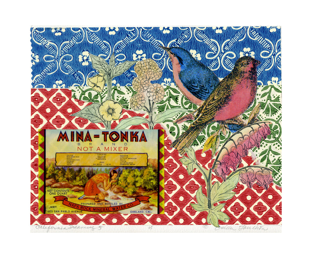 California Dreaming 5, vintage collage on paper with songbirds for sale by Ouida Touchon