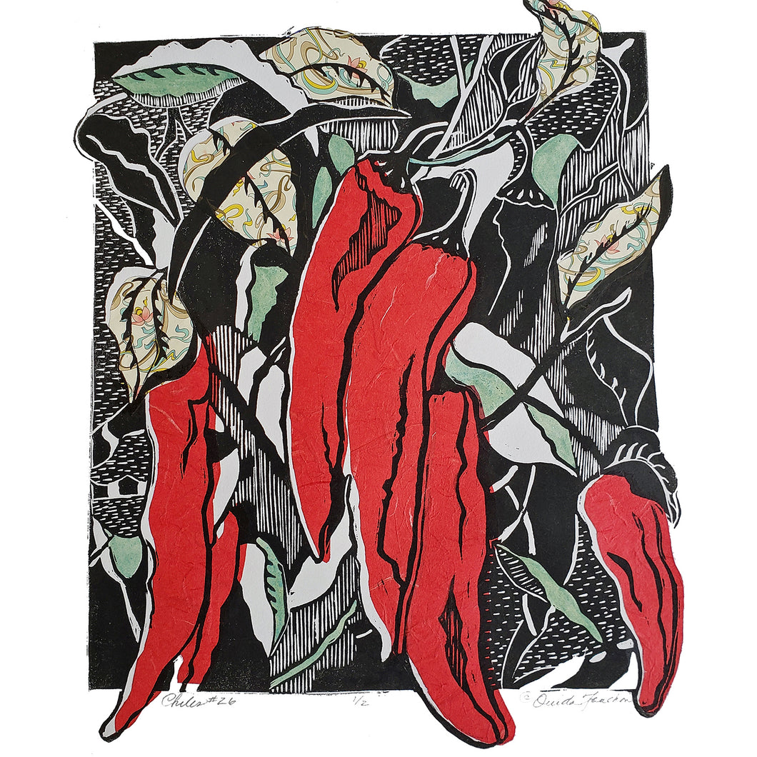 Red chiles woodcut print with collage, Chiles #26, on heavy acid free paper, free shipping from Ouida Touchon, artist