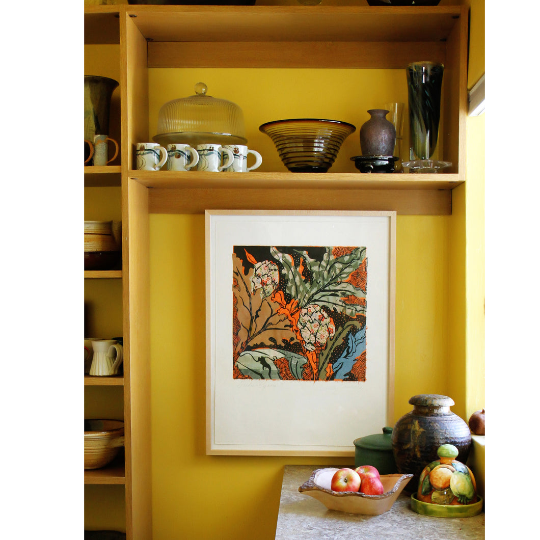 pantry with artichoke print