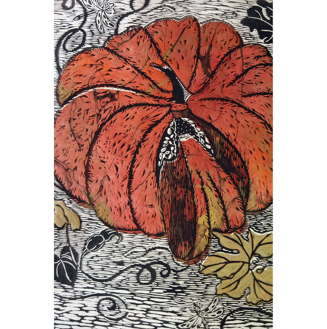 Golden Orange pumpkin with woodcut technique and chine colle collage. One of a kind, size 30hx22w, available for sale unframed by Ouida Touchon