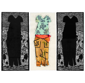 Billie's Dress, triptych artwork with 3 images of a dress worn by Billie Holiday, linocut and woodcut with color, original artwork. For sale by Ouida Touchon, artist