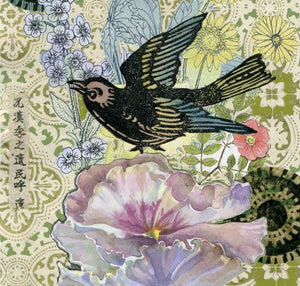Detail of A Forgotten Passion, chine colle collage of watercolor pansy and songbird, for sale by Ouida Touchon