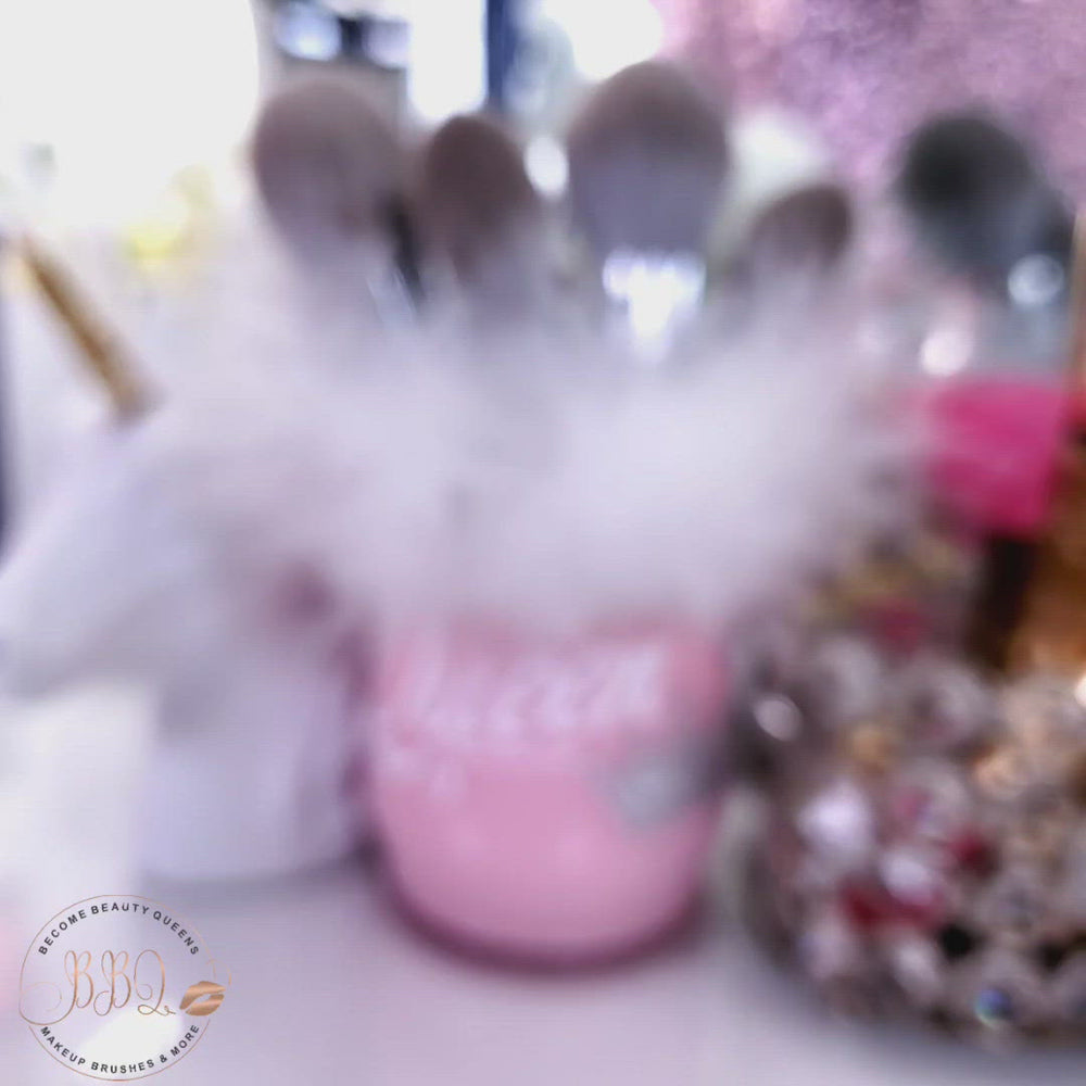 Load and play video in Gallery viewer, Makeup Brush Holder Pink Cup - White Fur