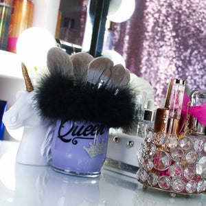 Load image into Gallery viewer, Brush Holder Purple Cup - Black Fur