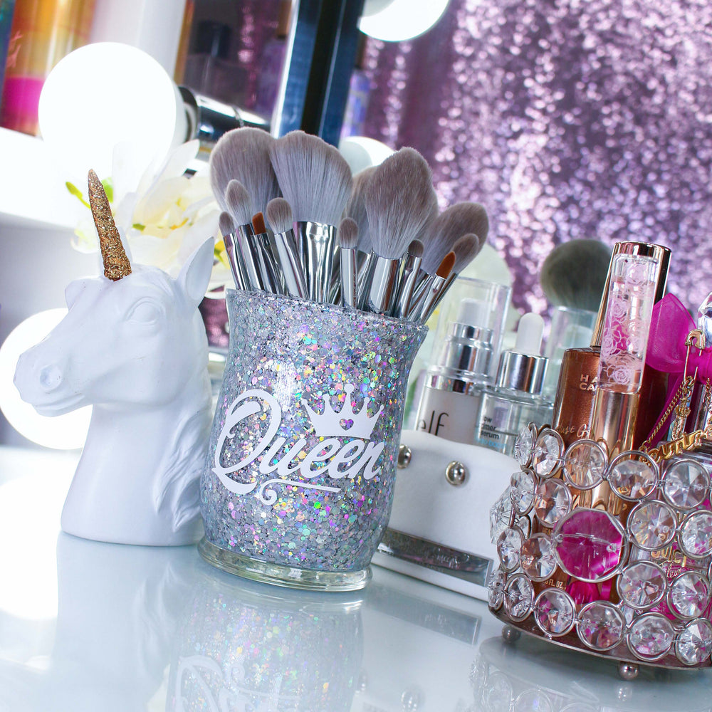Brush Holder Glitter Cup - White Fur