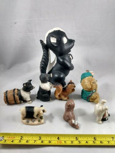 Miniature Glazed Ceramic Animal Figurine lot of 8 Hogs Skunk Bear Snowman Cat