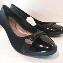 Load image into Gallery viewer, Time and Tru Women's Ladies Black Wedge Pumps Heels Shoes Size 10
