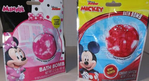 Lot 2 Disney Mickey Minnie Mouse Scented Tinted Bath Bomb Cotton Candy & Cherry