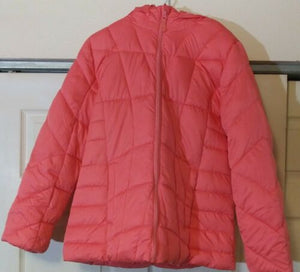 Girl's Size M Faded Glory Puffer Jacket Coat Zip Front w/ Hood Peach Glow Pink