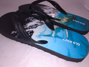 Boys Old Navy Brand Black & Blue Shark Flip Flops Size 1- 2 NWT