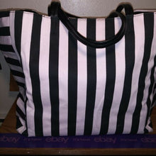 Load image into Gallery viewer, Victoria Secret  Pink And Black Bi-directional Stripe Canvas  Tote Bag~NWOT