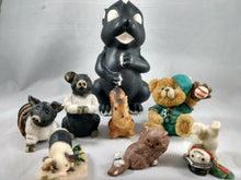 Load image into Gallery viewer, Miniature Glazed Ceramic Animal Figurine lot of 8 Hogs Skunk Bear Snowman Cat