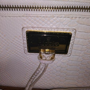 Nicole Miller White Handbag With Chain Link Strap