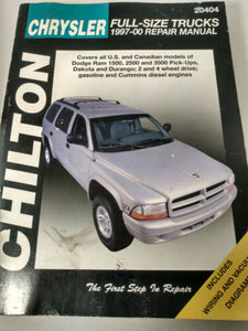 CHILTON Chrysler Full-Size Trucks 1997-00 Automotive Service Repair Manual